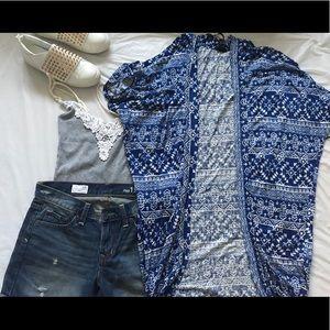 Blue and white F21 printed kimono style cardigan